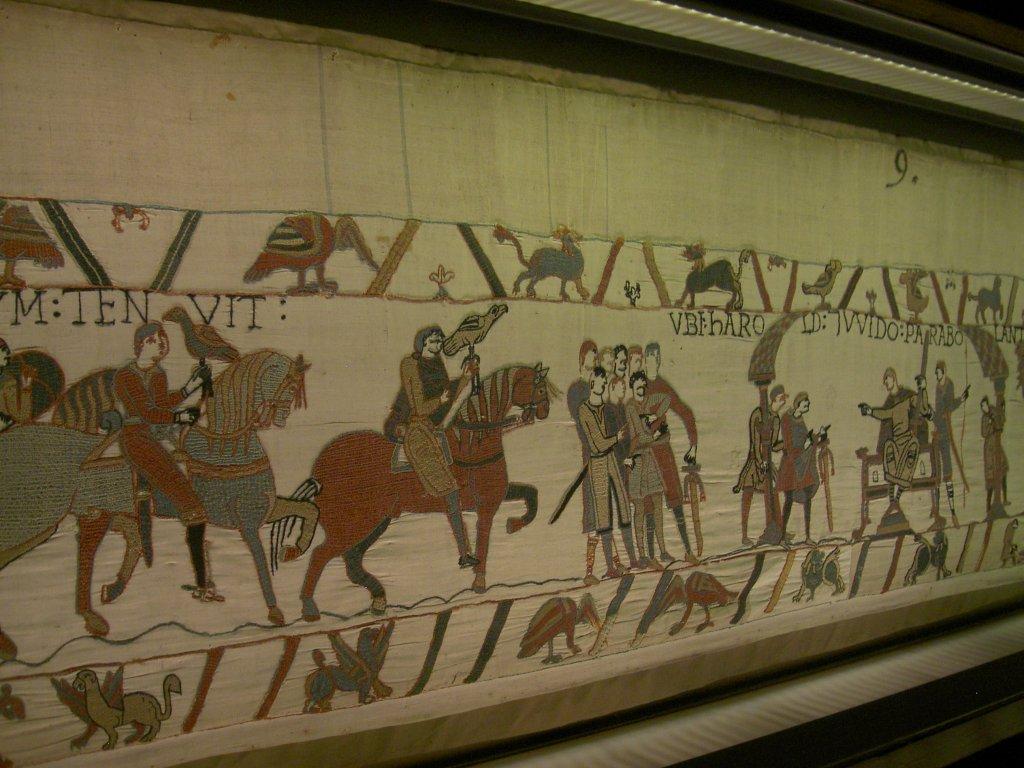 Bayeux, Teppich von Bayeux, er zeigt die Geschichte der