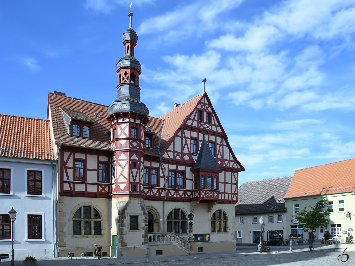 Das Rathaus Anfang August 2018 in Harzgerode.