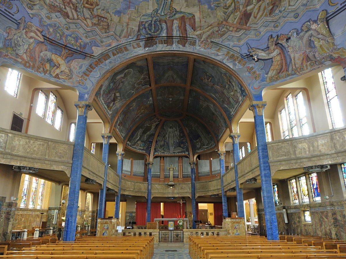 vichy innenraum der kirche notre dame de malades erbaut von 1672 bis 1714 umbau im art deco. Black Bedroom Furniture Sets. Home Design Ideas